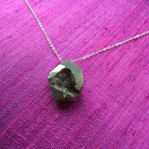 Gunmetal Druzy Agate & Sterling Silver Necklace