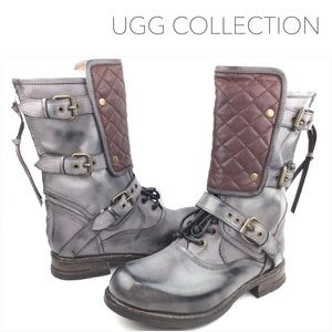 UGG Shoes - 🎉HP 🎉 UGG Savona Plum Leather Quilted Moto Boots