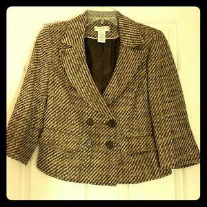 Worthington Petite 6P brown & gold striped blazer