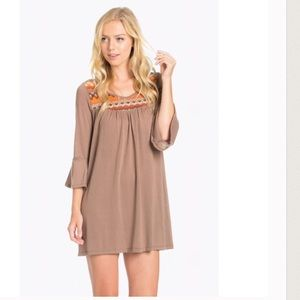  NY Embroidered Detail Bell Sleeve Dress