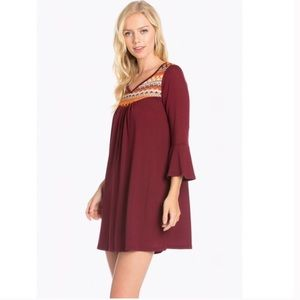 NY Embroidered Bell Sleeve Dress in Burgundy