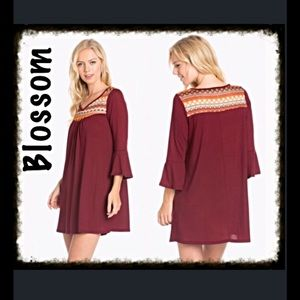 Embroidered Bell Sleeve Dress-Burgundy