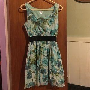 Xhiliration turquoise floral print dress sz S