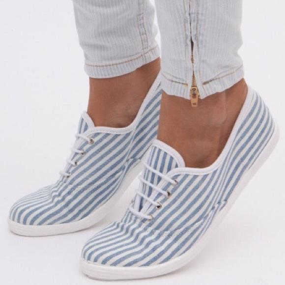 a2df1c4706 American Apparel Shoes | Striped Denim Tennis | Poshmark