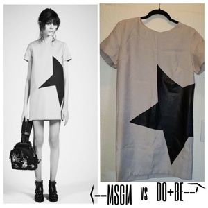MSGM Designer Style Vegan Leather Star Shift Dress