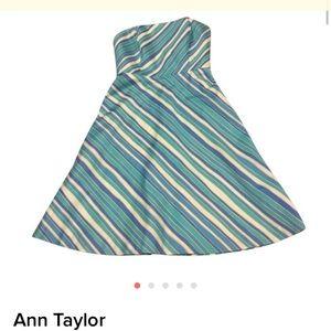 Ann Taylor Dresses & Skirts - Strapless Cotton Striped dress Ann Taylor size 2