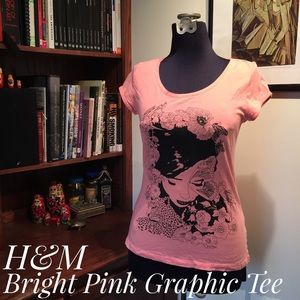 H&M Bright Pink Graphic Tee