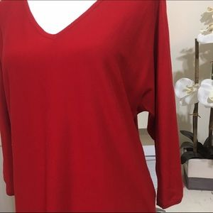 Talbots Sweaters - Talbots True Red Loose V-Neck Sweater Cotton Blend