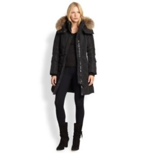 Mackage Fur Leather Trim Down Coat S with Tag