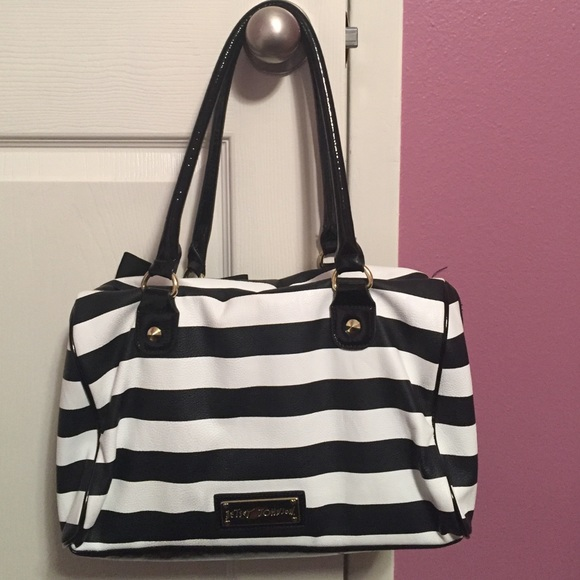 75% off Betsey Johnson Handbags - Black and white striped Betsey ...