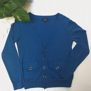 A.P.C. Sweaters - APC Blue V-Neck Cardigan