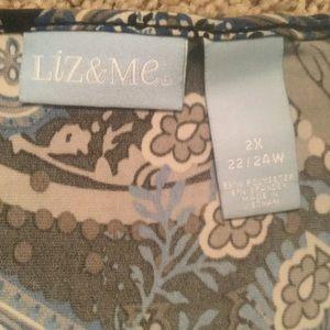 Liz & Me Tops - Kimono Style Blouse With Faux Camisole