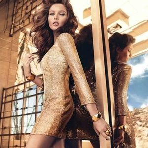 Guess By Marciano Sasha Gold Sequin Jacket Dress S Nwt