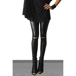 Faux Leather Knee Cut Out Hi-Waist Leggings Black