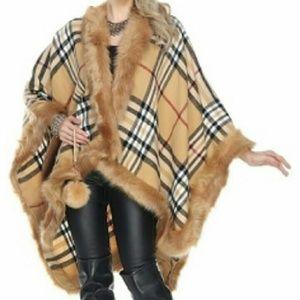 ONLY 2 LEFT!! NEW Tartan Plaid Fur Trimmed Cape