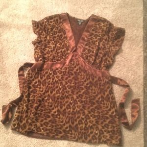 Animal Print Tunic With Satin Trim