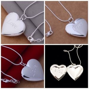 Silver Plated Heart Locket & Chain