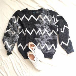 Gray and Black Retro Chevron Sweater Size Large