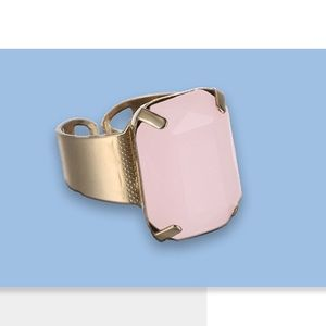 Jewelry - Open Cuff Crystal Ring in Pink Opal