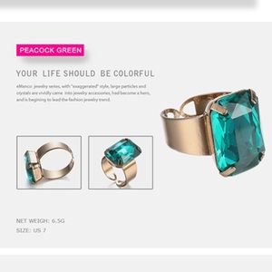 Jewelry - SALE🎉Open Cuff Crystal Ring in Peacock Green
