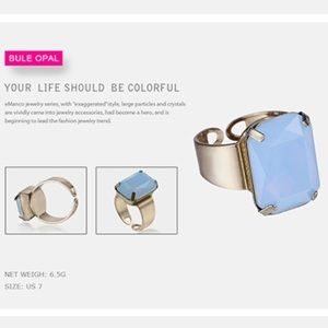 Jewelry - SALE🎉Open Cuff Crystal Ring in Blue Opal