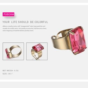 Jewelry - Open Cuff Statement Crystal Ring in Fuchsia