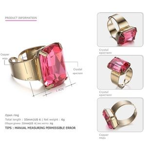 Jewelry - SALE🎉Open Cuff Statement Crystal Ring in Fuchsia