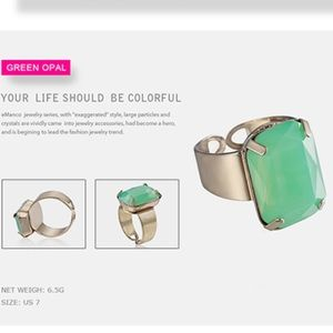 Jewelry - Open Cuff Crystal Ring in Green Opal