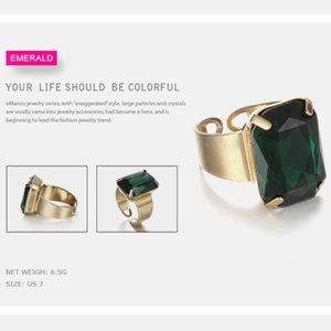Jewelry - Open Cuff Statement Crystal Ring in Emerald