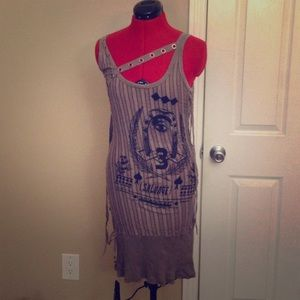 Salvage Dresses & Skirts - Salvage Horseshoe print striped dress with lacing