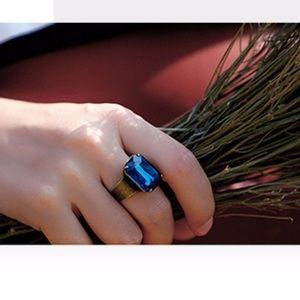 Jewelry - Open Cuff Statement Crystal Ring in Blue