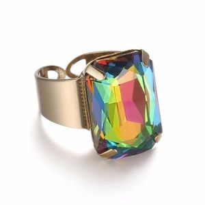 Jewelry - Open Cuff Statement Crystal Ring in Colorful