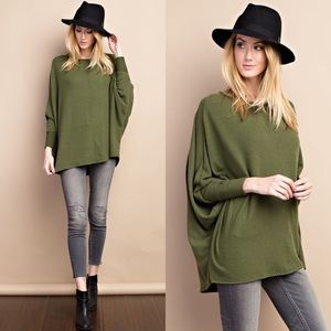 Tops - Cuffed Long Sleeved Tunic- DEEP OLIVE
