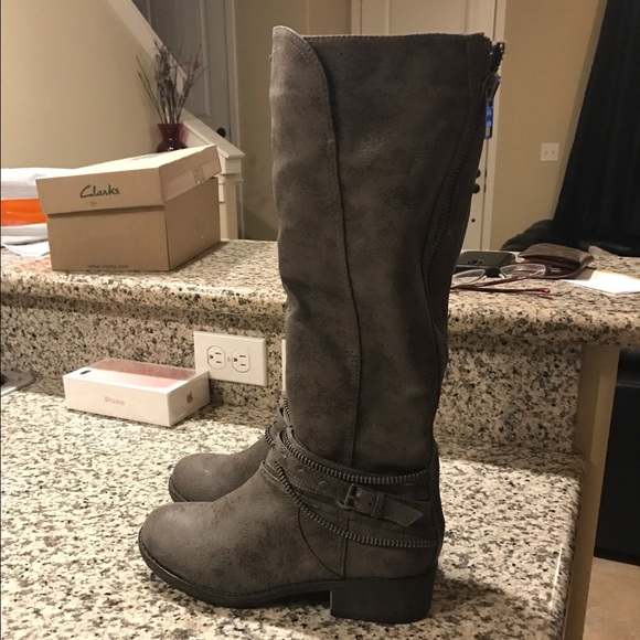 070374c2910 New SO Women's Overlay Riding Boots In Gray Size 9 NWT