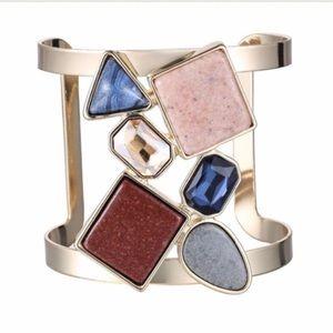 Jewelry - Colorful Geometric Hollow Statement Cuff/Bangle
