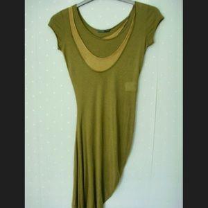 Alexander McQueen Dresses & Skirts - ALEXANDER MCQUEEN Khaki jersey asymmetrical dress