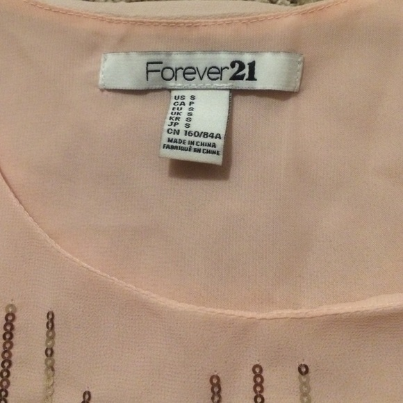 Forever 21 Tops - Light pink and gold sequin tank