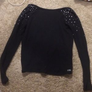 black low back bling sweater