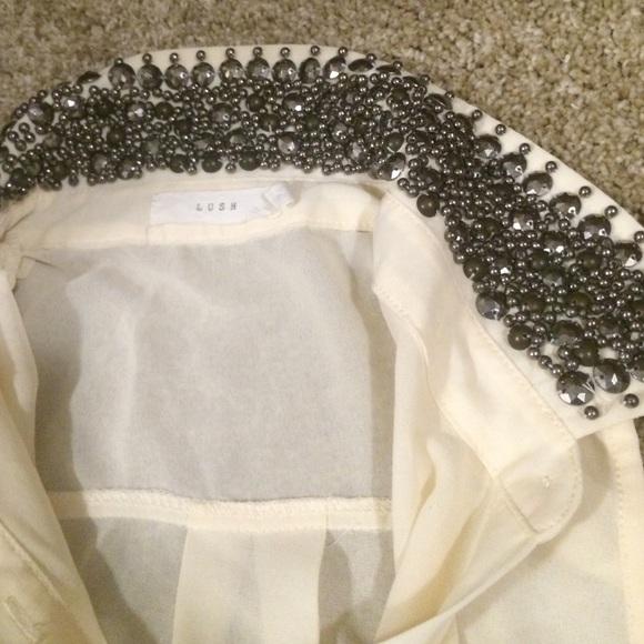 Lush Tops - Cream open shoulder studded blouse