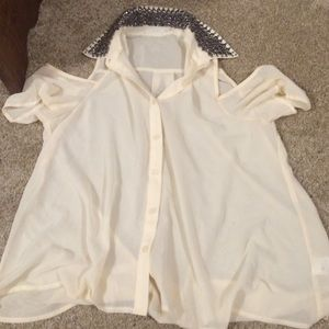 Lush Tops - Cream open shoulder studded blouse
