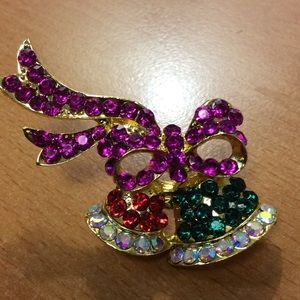 New Holiday Bell and Ribbon Brooch