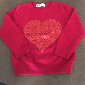 Beautiful red sequin heart sweater❤️
