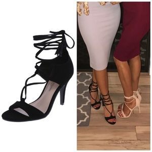 Christian Siriano Shoes - Christian Siriano LaceUp Black Suede OpenToe Heels