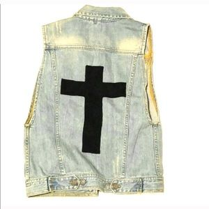 Brandy Melville Denim Vest with Cross on back
