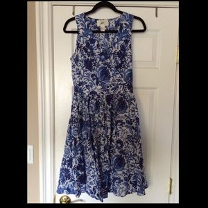H&M Blue Floral Full Skirt Dress Gown Size 6 / 36