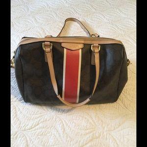 "Coach ""Nancy"" bag,  brown with orange stripe."