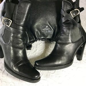 Host PickPrada Black Crisscross Strap Booties