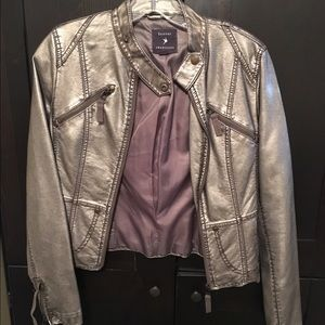 Forever 21 gold metallic motorcycle jacket, S