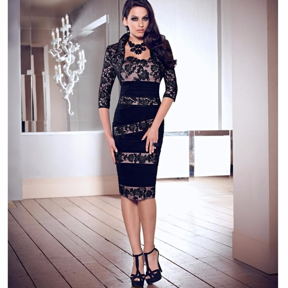 3025468b18 Illusion Lace Adorned Dress w Jacket VM Collection