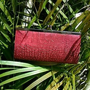 Red Leather Clutch Purse with Chain